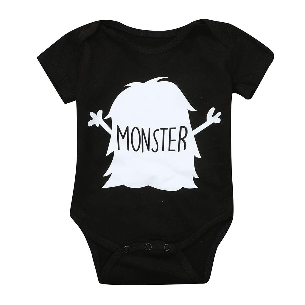 NUWFOR Toddler Baby Short Sleeve Letter Print Romper Tops Matching Family Clothes(Black,9-12 Months