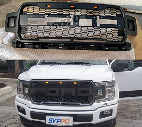 1 Piece of Raptor Style Front Grille with 3 Amber LED Lights and Smoked Lens Fit for Ford 2018-2019 F150 - OE Style + Detachable FORD Letter + Excellent Airflow to Radiator + Easy Install(Grey)