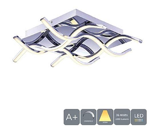 HALO - Contemporánea de cromo LED Semi Flush, 36W 2500LM, 3000K, Regulable, Diseño de Cuadrado moderno Lámparas de techo LED, ideal para salón, ...