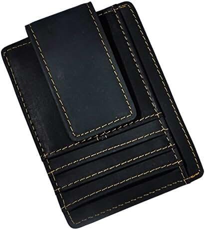 Le'aokuu Genuine Leather Magnet Money Clip Credit Card Case Holder Slim Handy Wallet