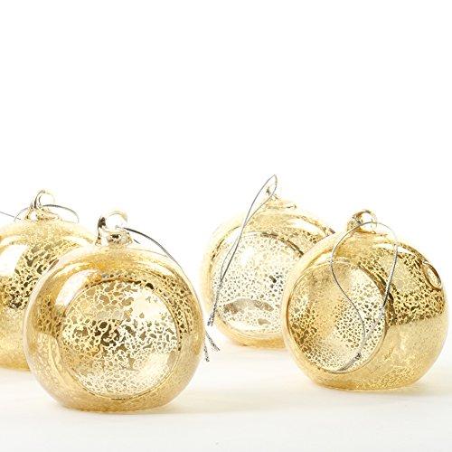 Koyal Wholesale Glass Hanging Tea Light Holder, 6-Pack Terrarium Container (3-Inch, Antique Gold) -