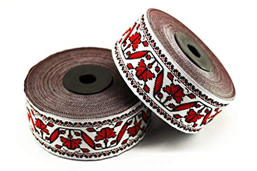 35 mm Red/White Snow Flower Ribbon (1.37 inches) - Flower Trim - Jacquard Trim - Fabric Wide Trims - Craft Supplies - Vintage Trim (10 Meters/ 10.93 Yards)]()