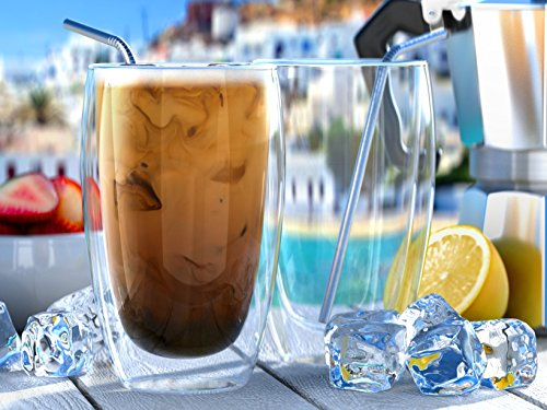 Anchor and Mill - Glass Coffee Mugs, 15 Ounce, Set of 2, Double Walled Glass, Insulated Suitable For Cappuccino, Latte, Espresso