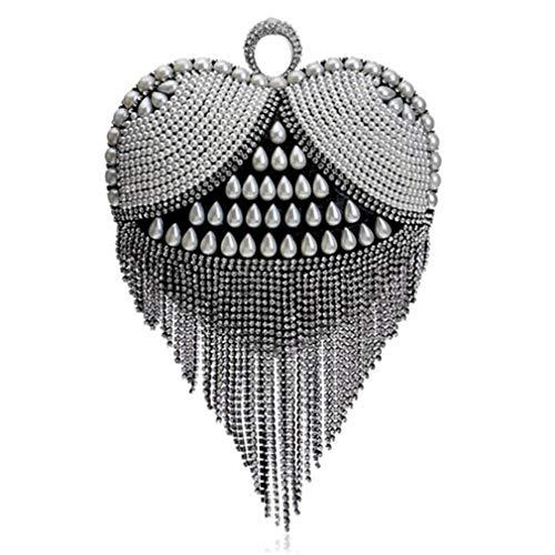 a Nassolini forma da Borse donna strass per di con sera Ym1090black cuore Sq6wZxq