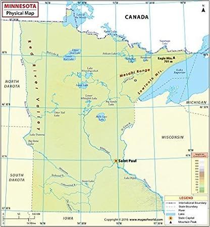 Canada Cartina Fisica.Mappa Fisica Del Minnesota 91 4 Cm Di Larghezza X 99 1 Cm Di Altezza Amazon It Cancelleria E Prodotti Per Ufficio