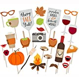 LASLU Thanksgiving Photo Booth Props,Happy Fall Yall Photo Booth Props- Fall Pumpkin Kisses Harvest Wishes Props -26pcs Package: Happy Fall Yall Photo Booth Props 26 x Wooden dowels 26 x Stickers Suitable for: Wedding, festival, house, bars, ...