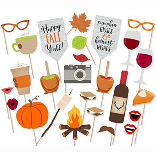 LASLU Happy Fall Yall Photo Booth Props- Fall Pumpkin Kisses Harvest Wishes Props -26pcs (Fall Party Outdoor)