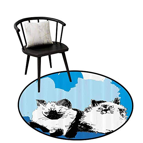 Anti-dust Round Rug Cat for Bathroom Illustration of Cute Baby Cats with Shades of Blue Kitten Theme Artwork Slate Blue Baby Blue Teal D47(120cm)