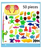 fish water game - 50pcs Waterproof Magnetic Floating Fish Toys Outdoor Fun Fishing Game Baby Learning & Education Bath Toys Fishing Set(color may vary)