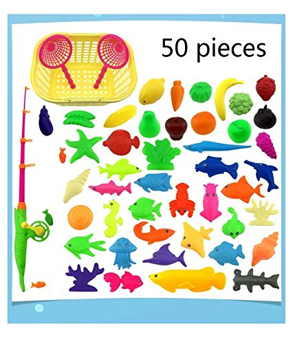 50pcs Waterproof Magnetic Floating Fish Toys Outdoor Fun Fishing Game Baby Learning & Education Bath Toys Fishing Set(color may vary)