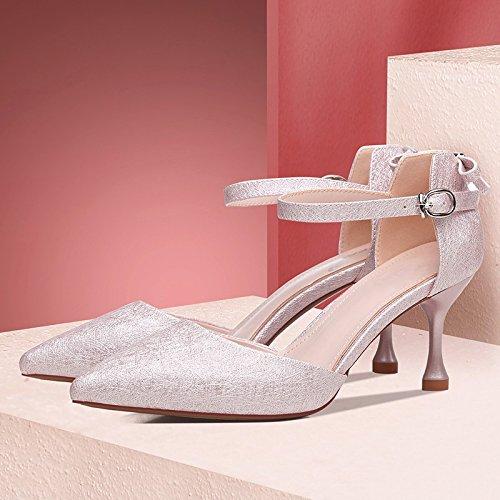 Jqdyl Tacones Versión Coreana del Verano de los nuevos Zapatos de Tacón Alto con los Zapatos de Las Mujeres de Las Señoras de la Manera Tacones Altos de Las Señoras Pink