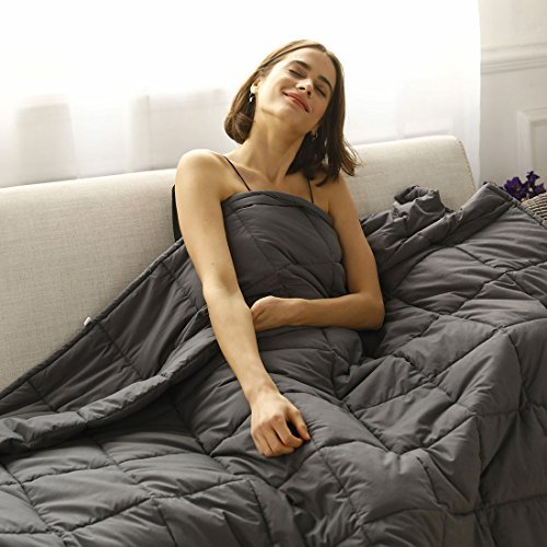CuteKing Weighted Heavy Blanket 48''x78'' Twin Size 15lbs for Adult Women Men Summer Natural Deep Sleep, Reduce Stress, Anxiety, Autism (Dark Grey)