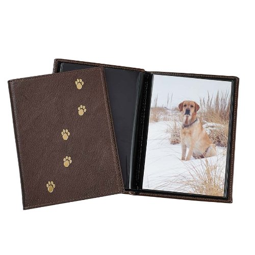 """Pet Brag Book, Genuine Italian Leather, Holds 20 """"4 x 6"""" Pictures, Mocha"""
