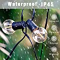 Svater Waterproof Outdoor String Lights 2 Pack 25FT LED Commercial Grade Patio Lights with 23 Hanging Socket 25 G40 Bulbs Connectable Ambience Pro Indoor Outdoor Lights for Cafe Garden Backyard Party