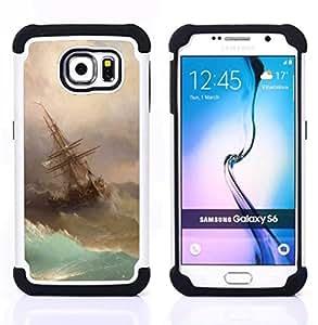 """Samsung Galaxy S6 / SM-G920 - 3 en 1 impreso colorido de Altas Prestaciones PC Funda chaqueta Negro cubierta gel silicona suave (Tormenta Pintura Vela Waves Arte"""")"""