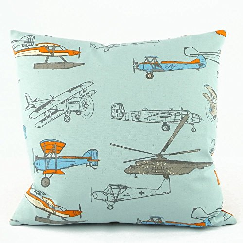 "Flight School Vintage Airplanes / Chevron Handmade Decorative Pillow Cover, 18x18"", Reversible, Orange"