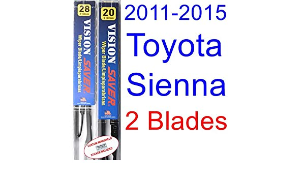Amazon.com: 2011-2015 Toyota Sienna Replacement Wiper Blade Set/Kit (Set of 2 Blades) (Saver Automotive Products-Vision Saver) (2012,2013,2014): Automotive