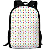 Markui Adult Travel Hiking Laptop Backpack Color Point School Multipurpose Durable Daypacks Zipper Bags Fashion