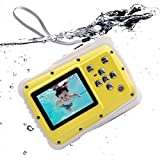 UNIONDA Kids Camera 12MP HD Waterproof Camcorder with 2 Inch LCD 4x Optical Zoom and Mic 9.9 ft Waterproof Camera Kids Birthday Holiday Gift Learn Camera Give Floating Wrist Strap (Yellow)