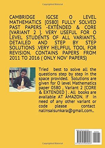 CAMBRIDGE IGCSE O LEVEL MATHEMATICS [0580] FULLY SOLVED PAST