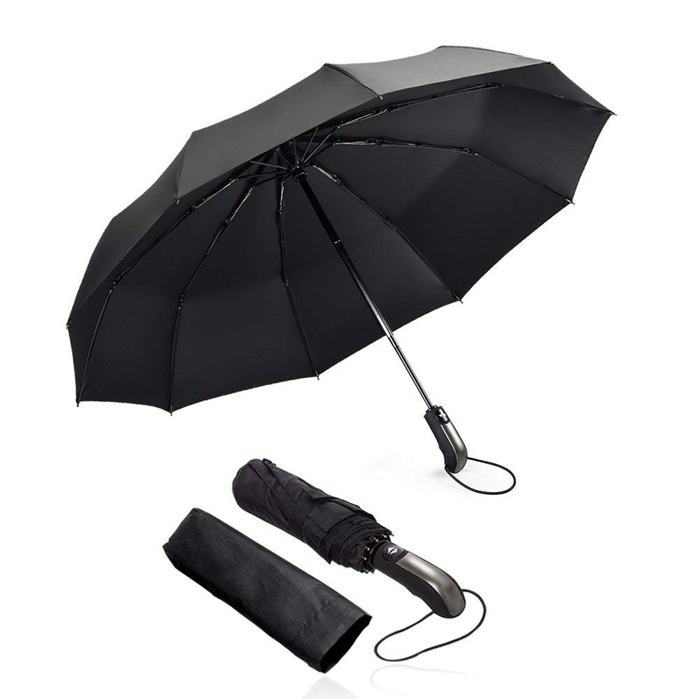 Travel Auto Windproof Umbrella - 10 Ribs Compact Folding Umbrella for Women Men with Ergonomic Handle