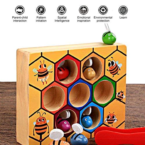 Wooden Fun Bee Picking Catching Practices Toy Kids Hand Grasping Training Beehive Box Games Early Educational Props