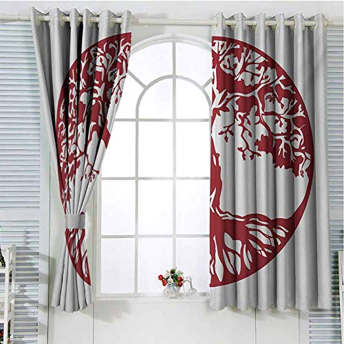 Tree Patio Door Curtains for Bedroom Traditional Oak Silhouette Mythological Foliage Symbolizing Growth and Prosperity Thermal Insulated Noise Reducing W62 x L72 Inch Ruby and White (Patio Oak External Doors)