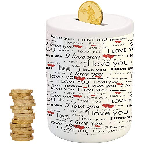 iPrint Romantic,Ceramic Child Bank,for Party Decor Girls Kid's Children Adults Birthday Gifts,I Love You Quote with Hearts Romance Couple Valentine with Plain - Valentine Ball Dragon