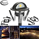 WiFi Deck Lights, FVTLED WiFi Controlled 6pcs Low Voltage LED Deck Lights Kit Φ1.38'' Outdoor Recessed Step Stair Warm White LED Lighting Work with Alexa Google Home, Black