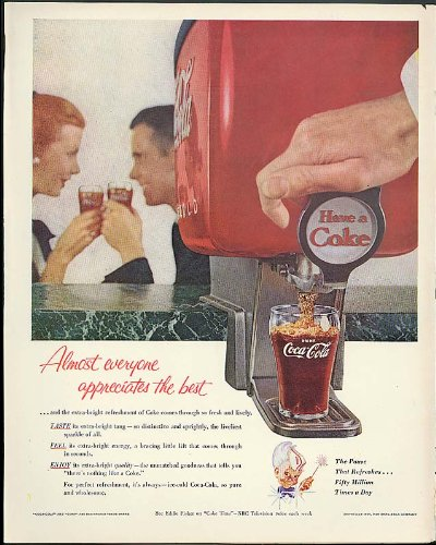 Almost everyone appreciates the best Coca-Cola ad 1955 soda fountain tap by The Jumping Frog