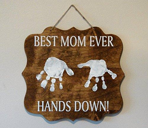 Handprint Plaque (Personalized Wood Sign Best Mom ever Hands down! Dad Grandma Grandpa Nana Pawpaw Papa Granny Aunt uncle hanging plaque handprints 11