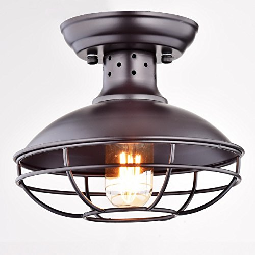 Bon Dazhuan Industrial Vintage Metal Cage Pendant Lighting Semi Flush Mount  Ceiling Light Lamp Fixture