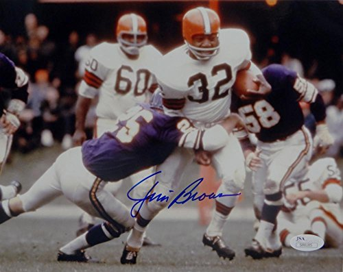 10 Cleveland Browns Jersey - Jim Brown Autographed Cleveland Browns 8x10 Vs Vikings PF Photo- JSA Auth Blue