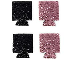Bachelorette Party Can Cooler With Black/Pink Sequins Set of 4