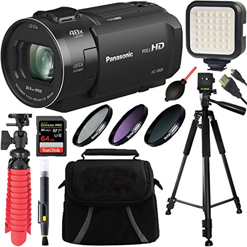 Panasonic HC-V800 Full HD Camcorder with 24x LEICA DICOMAR Lens + 64GB SDXC Card & Accessory Bundle by Beach Camera