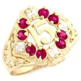 10k Yellow Gold Simulated Ruby CZ Fancy Quinceanera 15 Anos Birthstone Ring