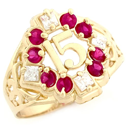 10k Yellow Gold Simulated Ruby CZ Fancy Quinceanera 15 Anos Birthstone Ring by Jewelry Liquidation