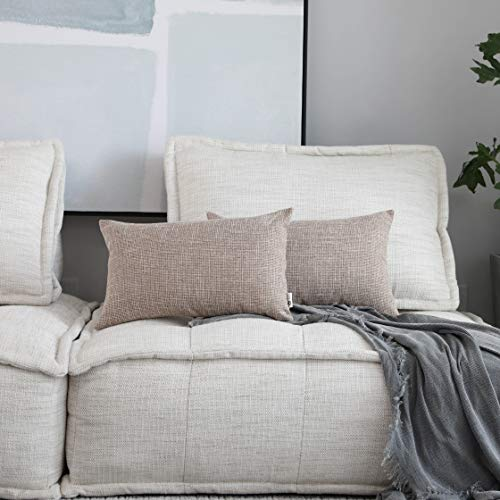 Natural Linen Pillow - Kevin Textile Throw Cushion Covers Comfortable Faux Linen Pillows Cover for Chair/Sofa/Bed/Car, 12 x 20 inches, Natural Linen