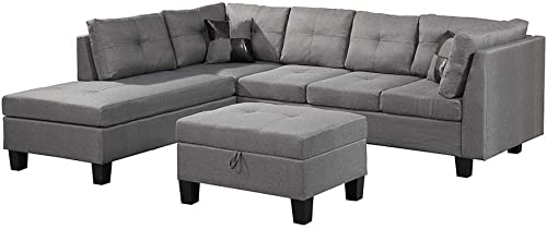 MOOSENG, 3-Piece Microfiber Furniture Set with Chaise Lounge and Storage Ottoman L Shape Couch Sofas, Browm