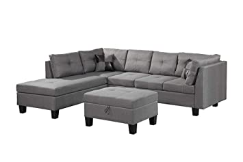 MOOSENG, 3-Piece Microfiber Set with Chaise Lounge and Ottoman Mid Century Modern Living Room Furniture Sofas, Gray