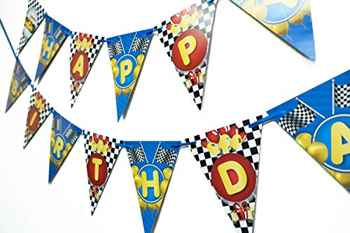 Wellin Race Car Birthday Paper Pennant Banner Race Theme Decoration]()