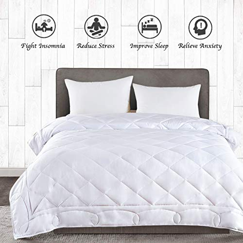 Cheap JOLLYVOGUE Weighted Blanket 20lbs for Couple 80x 87Inches Queen Size Weighted Blanket with 100% Soft Cotton and Glass Beads-White Black Friday & Cyber Monday 2019