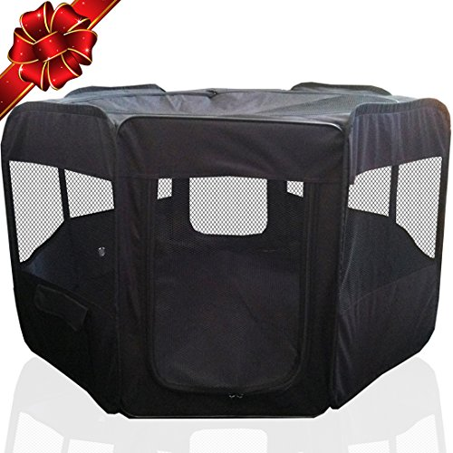 ToysOpoly Portable Pet Playpen Puppy Kennel - Best for Small and Medium Size Dogs and Cats - Simple Folding Design for Easy Storage (Black Puppy Pen)