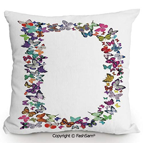 "FashSam Throw Pillow Covers Magical Creatures Flying Monarch Butterflies Fragility Grace Artistic Collection Decorative for Couch Sofa Home Decor(24"" Wx24 L)"
