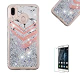 Funyye Liquid Glitter Case for Huawei P20 Lite,Luxury Marble Sparkly Floating Water Liquid Love Hearts Design Transparent Soft Silicone Gel TPU Case for Huawei P20 Lite,Ultra Thin Crystal Rubber Durable Shell Bumper Back Protective Case for Huawei P20 Lite + 1 x Free Screen Protector