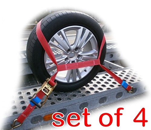 Trailer Car Transporter Recovery Ratchet Straps with Soft Link - Set of 4 - Alloy Wheel Winner