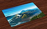 Lunarable Volcano Place Mats Set of 4, Mount Bromo Volcano During Sunrise in East Java Indonesia Majestic Nature, Washable Fabric Placemats for Dining Room Kitchen Table Decor, Sky Blue Green White