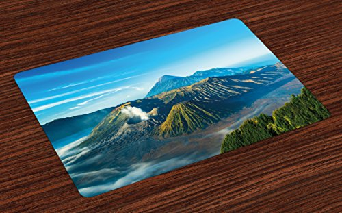 Lunarable Volcano Place Mats Set of 4, Mount Bromo Volcano During Sunrise in East Java Indonesia Majestic Nature, Washable Fabric Placemats for Dining Room Kitchen Table Decor, Sky Blue Green White by Lunarable