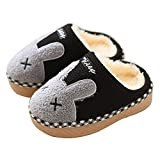 Maybolury Boys Girls Home Slippers,Kids Cute Fur Lined Warm House Slippers Winter Indoor Shoes Black