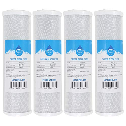 Denali Pure 4-Pack Replacement for Compatible with Brita USS-120 Activated Carbon Block Filter - Universal 10 inch Filter Compatible with Brita Universal Drop-in Water Filtration System -